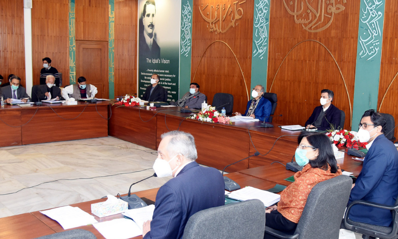 Finance Minister Hafeez Shaikh chairs a meeting of the Economic Coordination Committee (ECC) on Wednesday. — PID