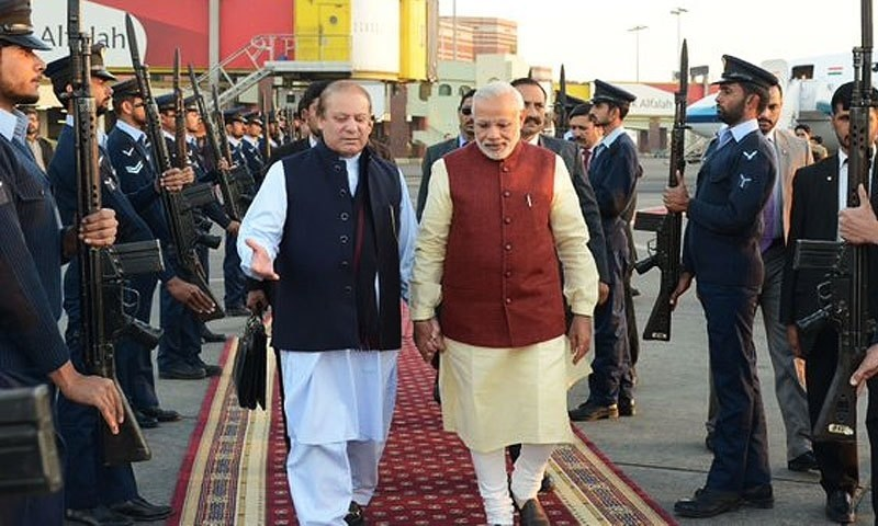 Former PM Nawaz Sharif and Indian PM Narendra Modi seen in Lahore in December 2015. ─ Photo: Former PM House/File