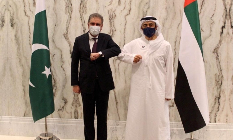 Foreign Minister Shah Mahmood Qureshi meets with his United Arab Emirates counterpart, Sheikh Abdullah bin Zayed Al Nahyan, in Abu Dhabi. — Photo courtesy Shah Mahmood Qureshi Twitter