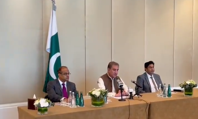 Foreign Minister Shah Mahmood Qureshi addressing a press conference in the UAE on news of a planned Indian attack. — DawnNewsTV