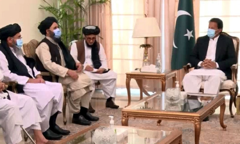 Prime Minister Imran Khan in a meeting with the Taliban Political Commission delegation in Islamabad. — Photo courtesy: Radio Pakistan