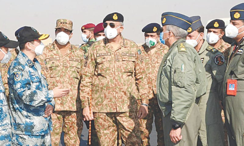 Chief of the Army Staff Gen Qamar Javed Bajwa pictured during a visit to an operational base of the Pakistan Air Force on Friday. Chief of the Air Staff Air Chief Marshal Mujahid Anwar Khan is also present.—INP