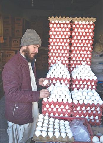QUETTA: A vendor arranges eggs at his shop on Thursday.—APP