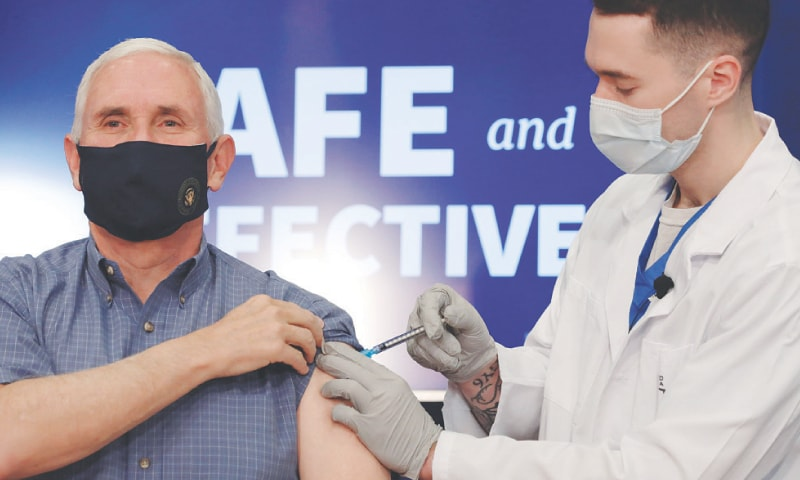 US Vice President Mike Pence receives the Covid-19 vaccine at the White House on Friday. — Reuters