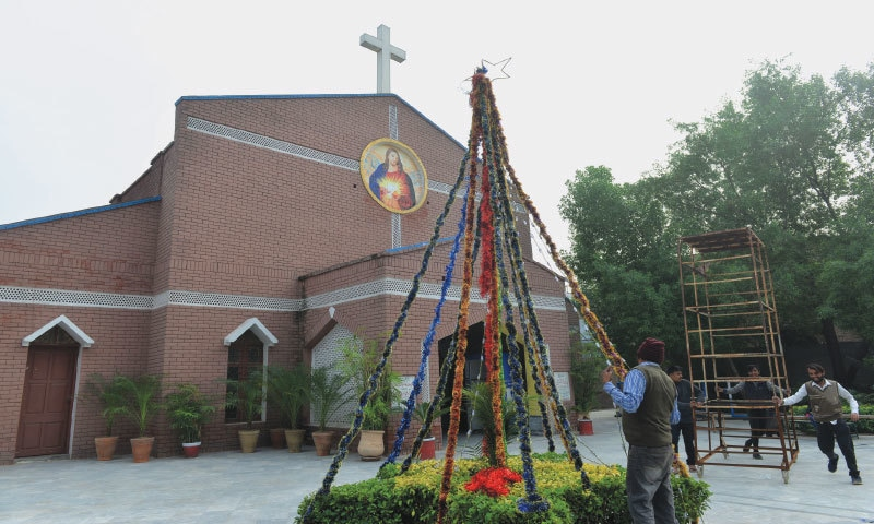 Decorations are being put up for Christmas celebrations at St John's Catholic Church| Murtaza Ali/White Star