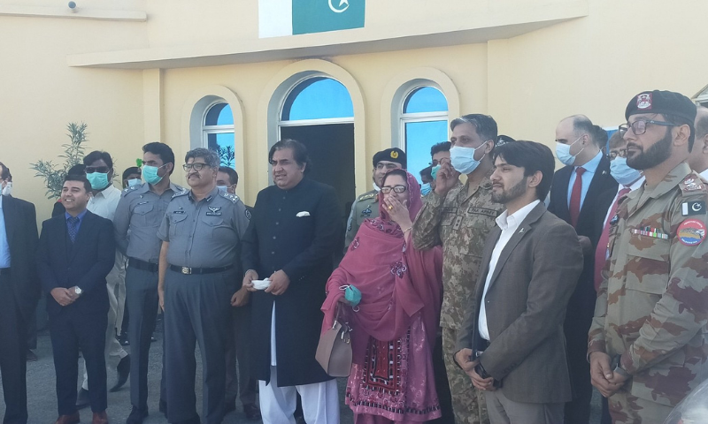 Minister for Defence Production Zubaida Jalal opened another official border crossing point with Iran in Gwadar on Saturday. — Photo courtesy Assistant Commissioner Gwadar Twitter