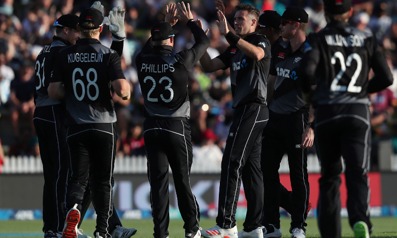 New Zealand celebrate the wicket of Pakistan's Mohammad Rizwan during the second T20 international cricket match between New Zealand and Pakistan at Seddon Park in Hamilton on Sunday. — AFP
