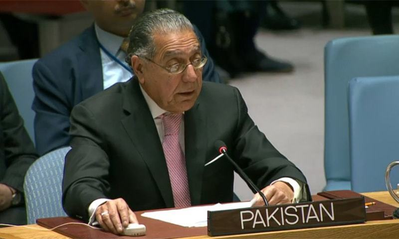 In this Jan 2020 file photo, Pakistan's ambassador to the United Nations Munir Akram addresses the UNSC. — APP/File