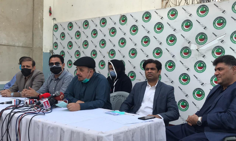 Leader of the Opposition in the Sindh Assembly Firdous Shamim Naqvi addresses a press conference at the PTI's Insaf House office on Monday. — Photo courtesy PTI Twitter