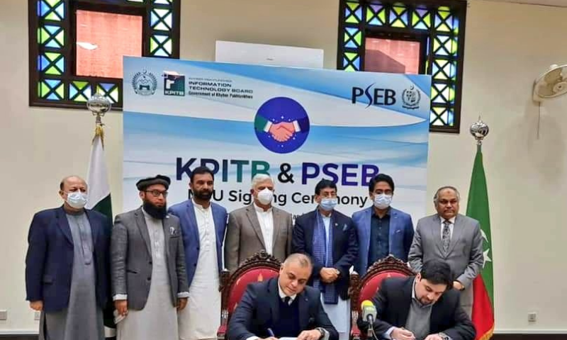 A memorandum of understanding (MoU) was inked between PSEB and KPITB for a wide range of collaboration for promotion of information and communication technology in the province. — Photo courtesy Ziaullah Bangash Twitter