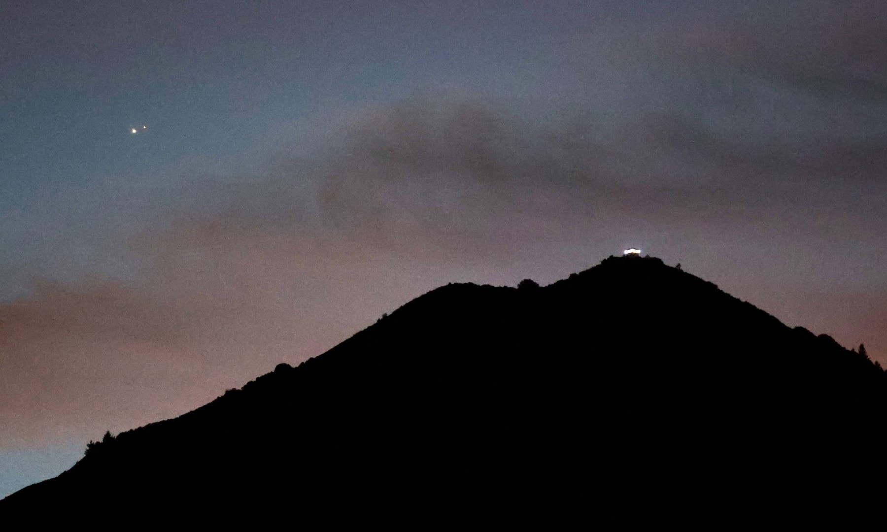 Jupiter (L) and Saturn appear about one-tenth of a degree apart during an astronomical event known as a Great Conjunction above Mt. Tamalpais on December 2. —  AFP
