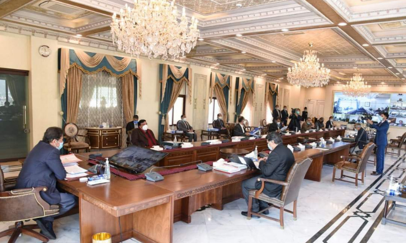 Prime Minister Imran Khan chairs a meeting of the cabinet on Tuesday. — Photo courtesy Tehreek-e-Insaf Twitter