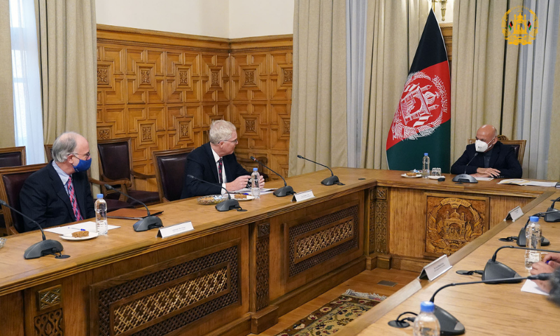 US Defence Secretary Christopher Miller met on Tuesday Afghan President Ashraf Ghani in Kabul during an unannounced visit to Afghanistan. — Photo courtesy: Afghan President's Office Twitter