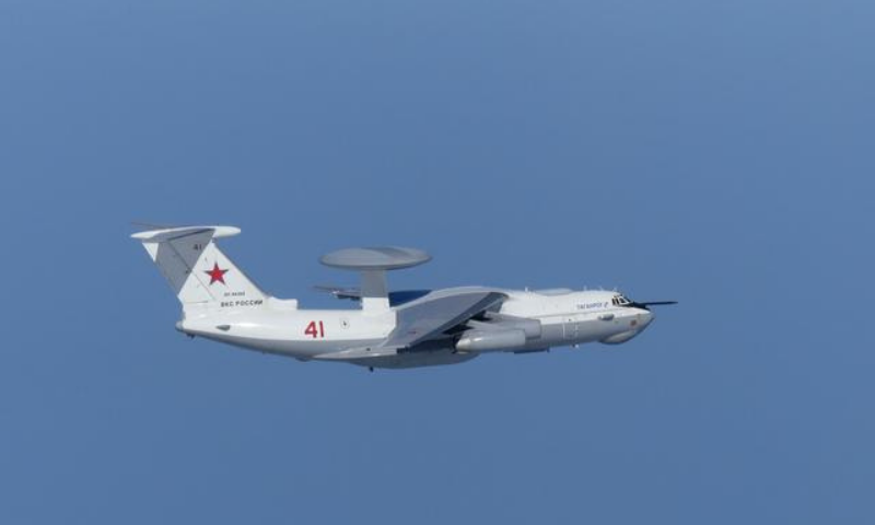 In this file photo, a Russian A-50 military aircraft flies near the disputed islands called Takeshima in Japan and Dokdo in South Korea. — Reuters