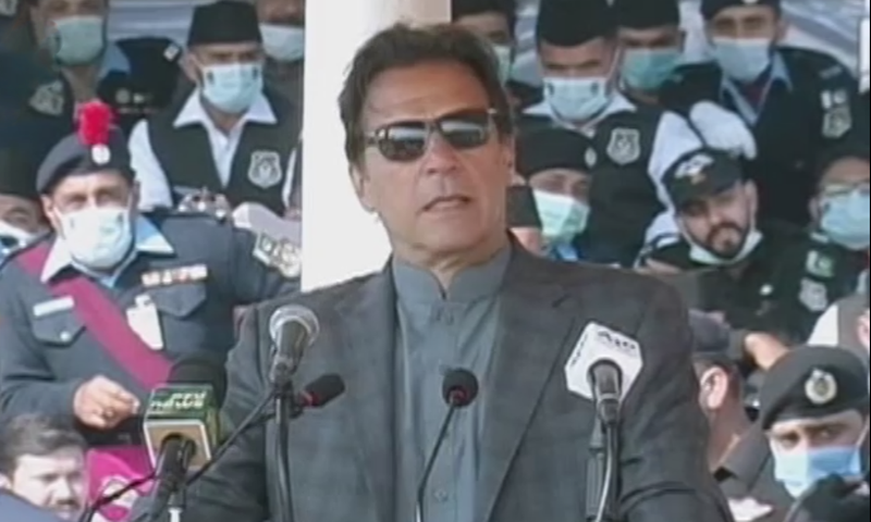 Prime Minister Imran Khan addresses the passing out parade of Islamabad police at Police Lines Headquarters in Islamabad on Wednesday. — DawnNewsTV