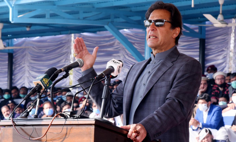 Prime Minister Imran Khan addresses the passing-out of cadets at the Police College, Sihala on Wednesday. — PID