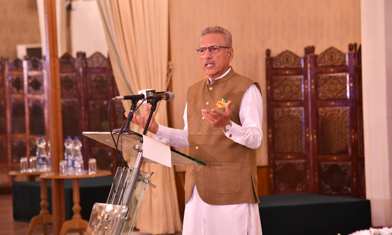 President Dr Arif Alvi addresses the Brainstorming Session on Gender-Based Discrepancies and Promotion of Legal, Economic and Social Empowerment of Women in Islamabad on Wednesday. — Photo courtesy: President of Pakistan Twitter