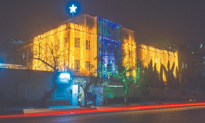 The Seventh Day Adventist Hospital is lit up for the festive season.—Fahim Siddiqi/White Star