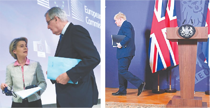 EUROPEAN Union's chief Brexit negotiator Michel Barnier talks to European Commission president Ursula von der Leyen following their statement on the outcome of the Brexit negotiations in Brussels on Thursday. [Right] Britain's Prime Minister Boris Johnson leaves after holding a remote press conference to update the nation on the post-Brexit trade agreement, inside 10 Downing Street in London. Britain said an agreement had been secured on the country's future relationship with the EU.—Reuters / AFP