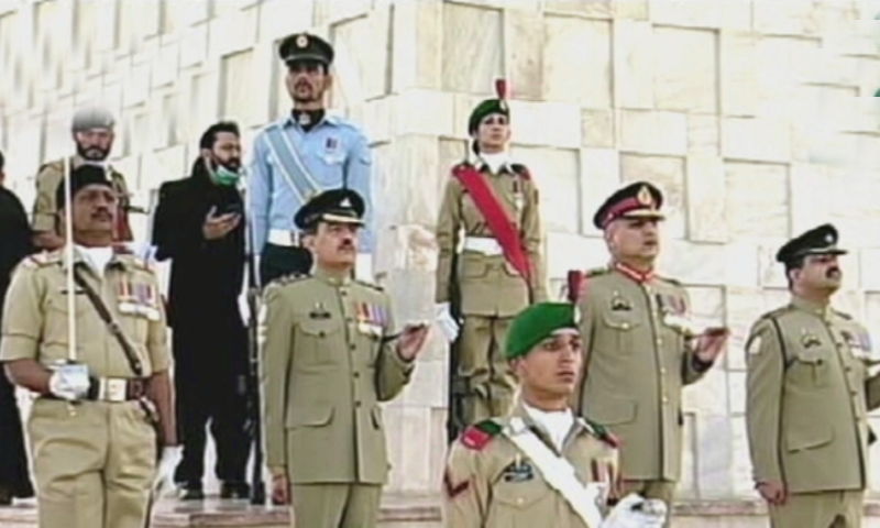 A change of guards ceremony took place at the Mazar-i-Quaid in Karachi in the morning. — DawnNewsTV