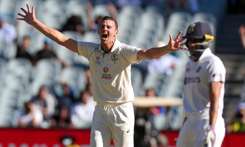 Australia's Josh Hazlewood appeals unsuccessfully for an LBW during play on day one of the Boxing Day cricket test between India and Australia at the Melbourne Cricket Ground on December 26. —  AP