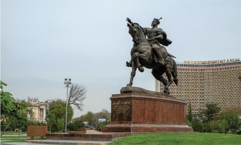 A statue of Tamerlane in front of the Hotel Uzbekistan in the Uzbek capital of Tashkent