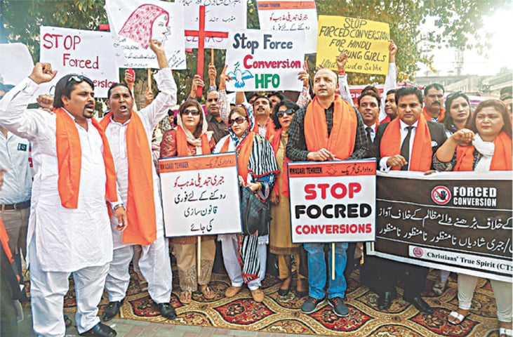 A protest against forced conversions in Lahore, March 2019   WhiteStar