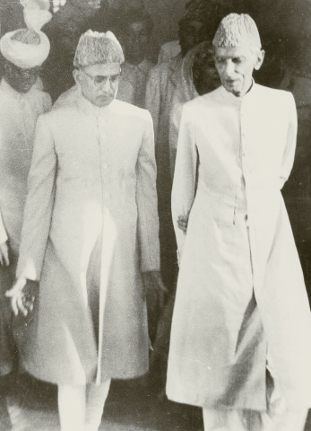Quaid-i-Azam Mohammad Ali Jinnah inaugurating the State Bank of Pakistan in Karachi on July 1, 1948. He is accompanied by Zahid Hussain, the first Governor of the State Bank. — Courtesy National Archives Islamabad