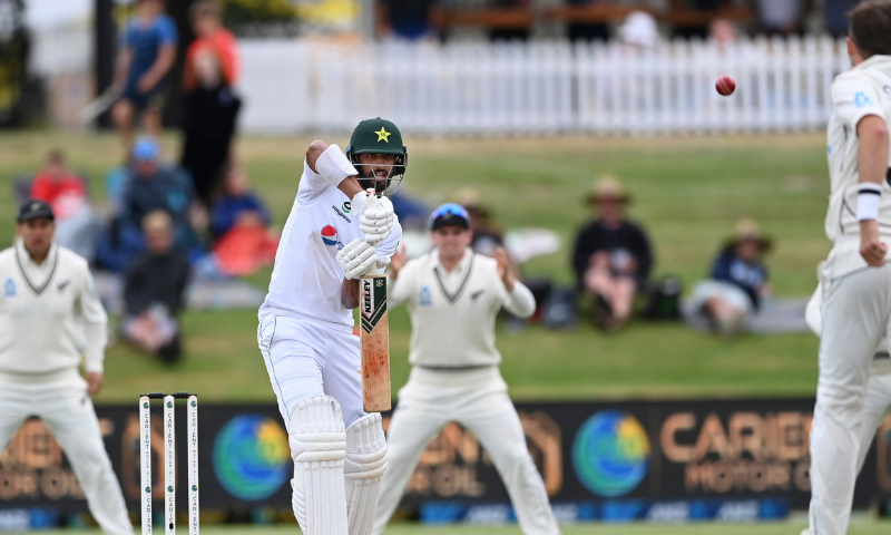 Pakistan batsman Shan Masood plays at the ball during play on day two of the first cricket Test between Pakistan and New Zealand at Bay Oval, Mount Maunganui, New Zealand on Sunday. — AP