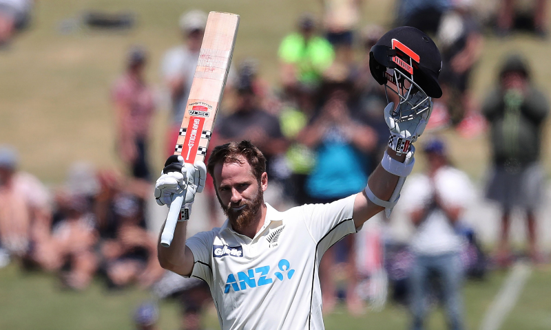 New Zealand's captain Kane Williamson celebrates reaching his century during the second day of the first cricket Test match between New Zealand and Pakistan at the Bay Oval in Mount Maunganui on Sunday. — AFP