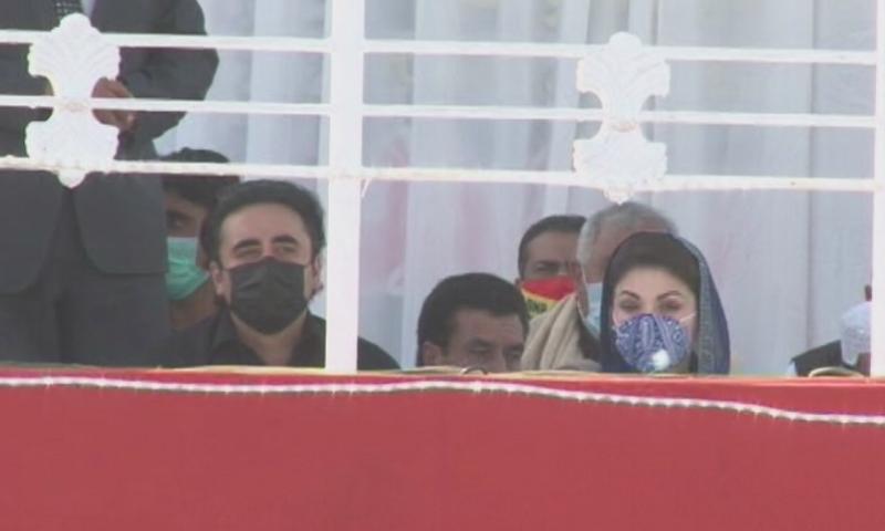 Bilawal Bhutto-Zardari and Maryam Nawaz on the stage. — DawnNewsTV