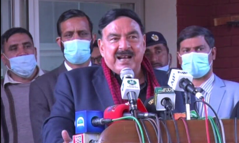 Minister for Interior Sheikh Rashid Ahmed addresses the media in Islamabad on Monday. — DawnNewsTV