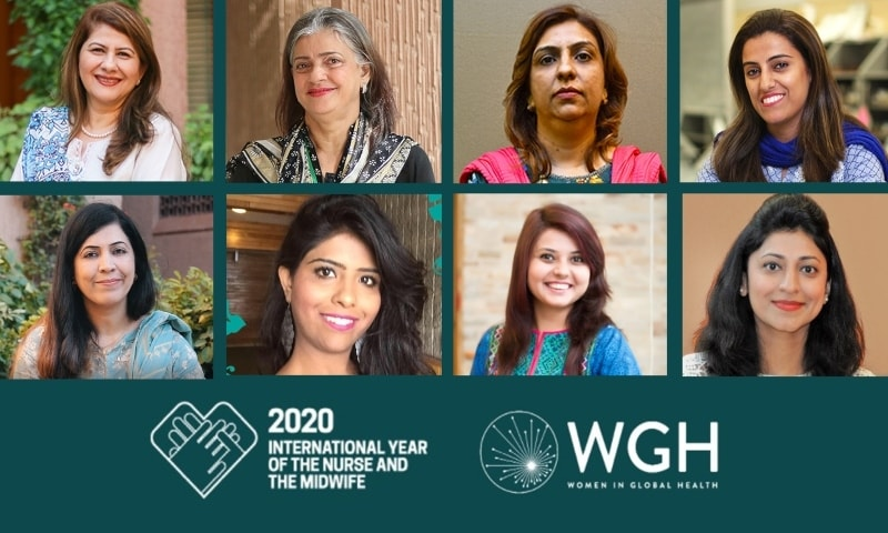 The eight Pakistani healthcare workers acknowledged in the global 100 Outstanding Women Nurse and Midwife Leaders 2020 list. — Courtesy: AKU