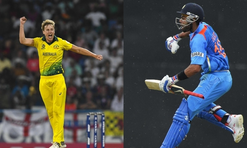 This combination photo shows Ellyse Perry of Australia (left) and Indian cricket team captain Virat Kohli. — AFP