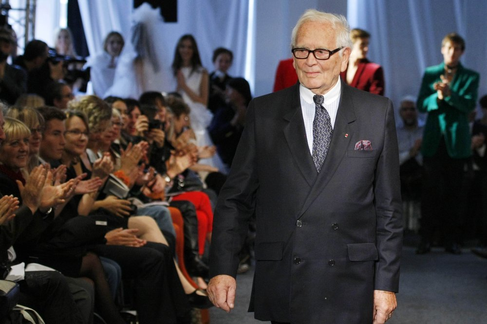 In this Sept29, 2010 file photo, French fashion designer Pierre Cardin acknowledges applause after his ready to wear spring/summer 2011 collection presented in Paris. — AP