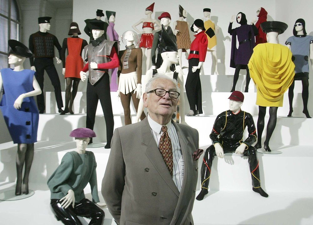 "In this May 3, 2005 file photo, French fashion designer Pierre Cardin presents his exhibition ""Design and Fashion 1950- 2005"" at the academy for arts in Vienna, Austria. — AP"