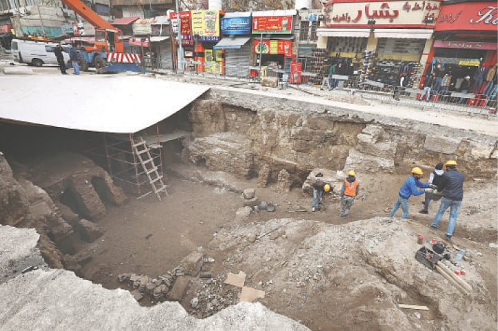 Amman (Jordan): Archaeologists and workers carry out excavation at a Roman archaeological site discovered during works to install a water drainage system.—Reuters