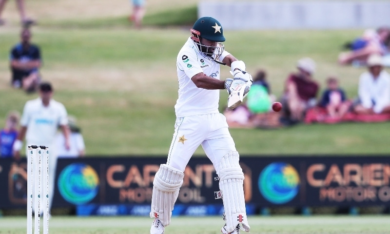 Pakistan's Mohammad Rizwan plays a shot during the fifth day of the first cricket Test match between New Zealand and Pakistan at the Bay Oval in Mount Maunganui on December 30. — AFP