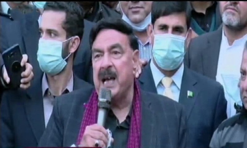 Minister for Interior Sheikh Rashid Ahmed speaks to the media in Islamabad. — DawnNewsTV