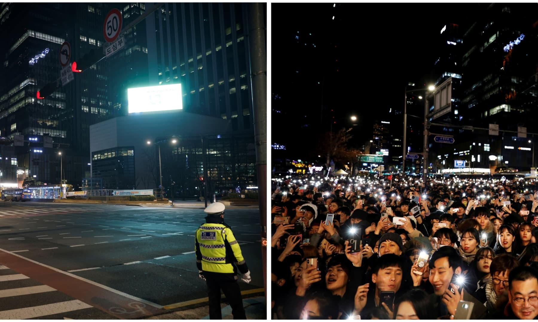 A combination photo shows people attending a ceremony to celebrate the new year on December 31, 2019, (R), and a policeman standing before a zebra crossing on New Year's Eve amid the coronavirus pandemic, in Seoul, South Korea, December 31, 2020 (L). — Reuters