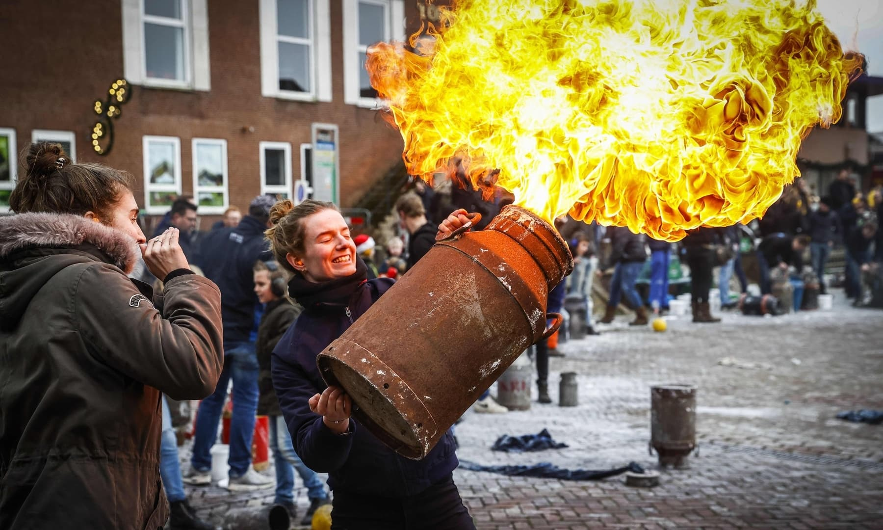 Residents of the municipality of Genemuiden celebrate the end of 2020 with carbide shooting on December 31, in the Netherlands. — AFP