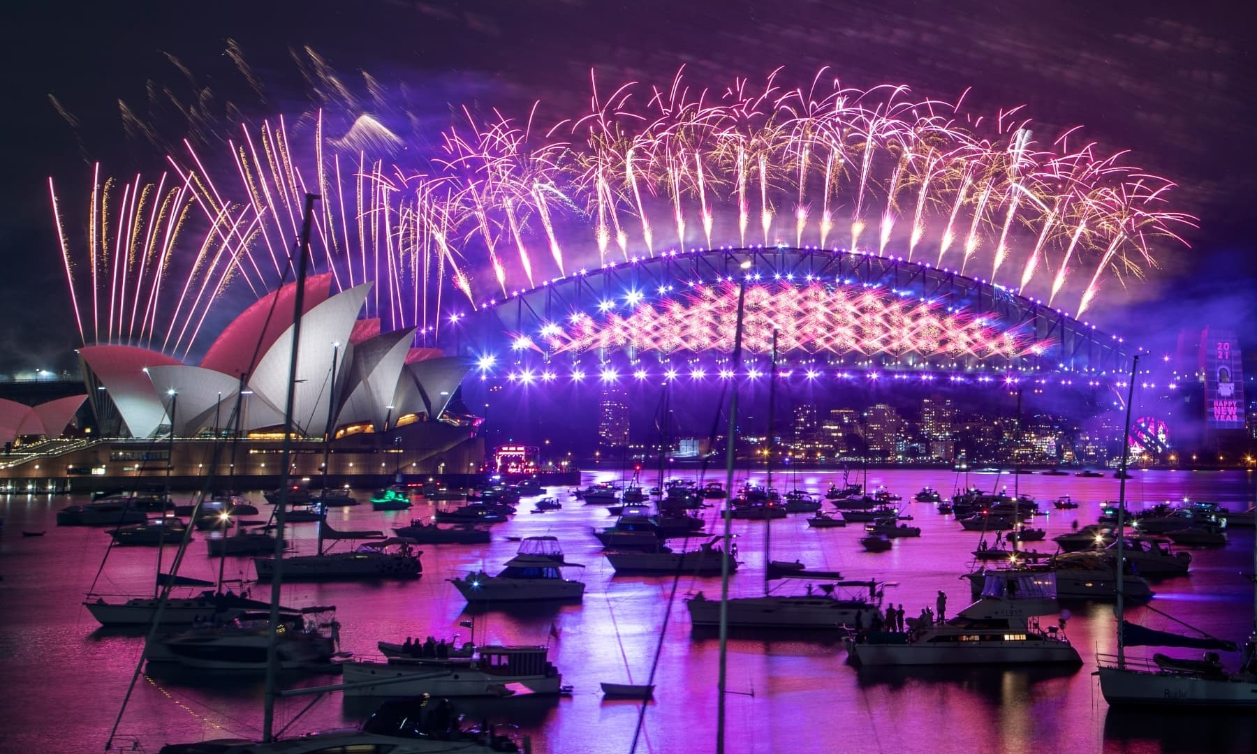 Fireworks explode over the Sydney Opera House and Harbour Bridge as New Year celebrations begin in Sydney, Australia, Thursday. — AP