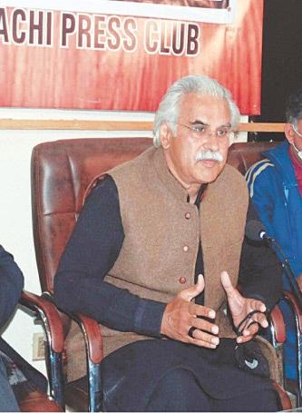 Dr Zafar Mirza speaks at the KPC on Thursday.—PPI
