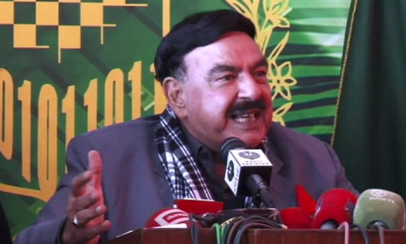 Sheikh Rashid speaks to the media in Rawalpindi on Saturday. — DawnNewsTV