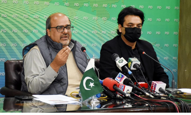 Adviser to the Prime Minister on Accountability Mirza Shahzad Akbar addressing a press conference in Islamabad with Special Assistant to the PM on Youth Affairs Usman Dar. — PID