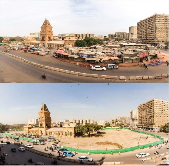Empress Market before and after the demolition process | Owais photos; courtesy Urban Resource Centre