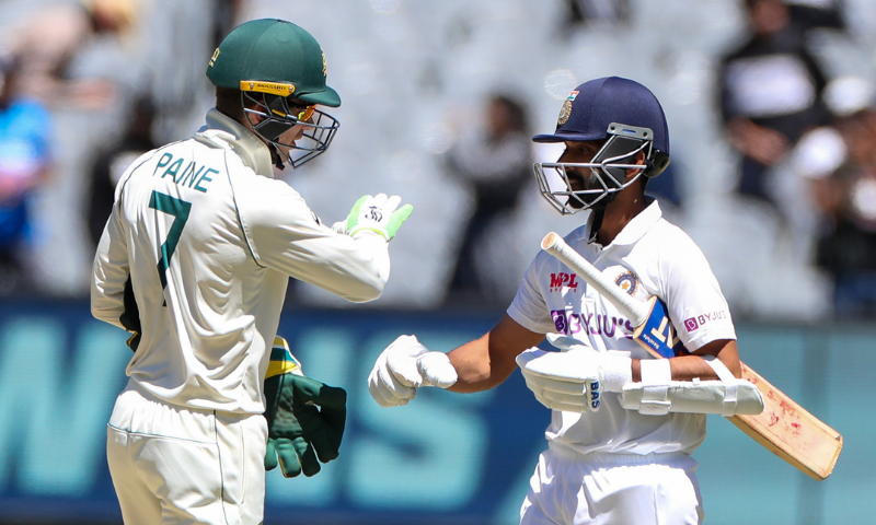 Australian captain Tim Paine, left, congratulates Indian captain Ajinkya Rahane after winning the second cricket Test at the Melbourne Cricket Ground, Melbourne, Australia in December. — AP/File