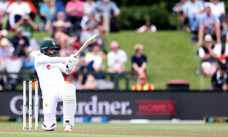 Pakistan's batsman Azhar Ali plays a shot during the day one of the second cricket Test match between New Zealand and Pakistan at Hagley Oval in Christchurch, New Zealand on Jan 3, 2021. — AFP