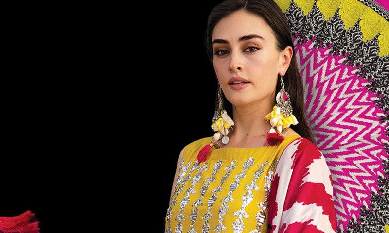 کھادی نے دسمبر 2020 کے وسط میں ترک اداکارہ ایسرا کے نام سے بھی کلیکشن متعارف کرائی تھی—فوٹو: کھادی