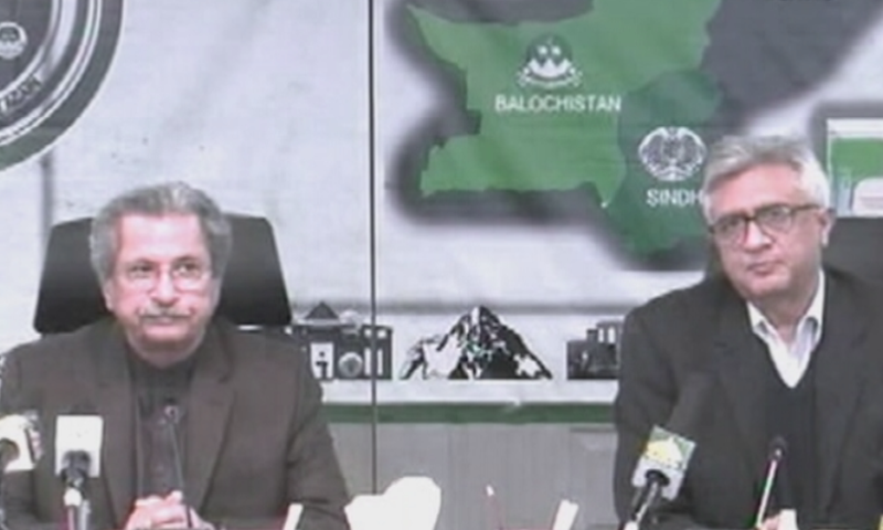 Federal Education Minister Shafqat Mahmood and Special Assistant to the Prime Minister on Health Dr Faisal Sultan address a press conference in Islamabad on Monday. — DawnNewsTV